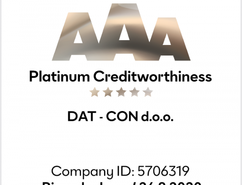 Bisnode Slovenia awarded DAT – CON with a platinum certificate of credit excellence 2020